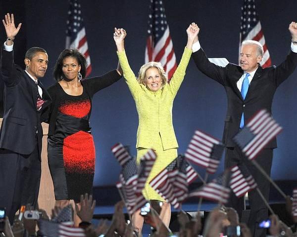 Barack Obama U.s. Presidential Election Victory Speech And Celebration Poster featuring the photograph U.s. President Elect Senator Barack by Everett