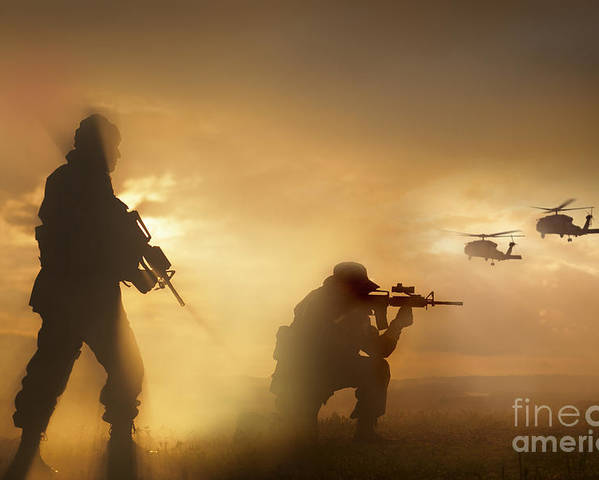 Special Operations Forces Poster featuring the photograph U.s. Special Forces Provide Security by Tom Weber