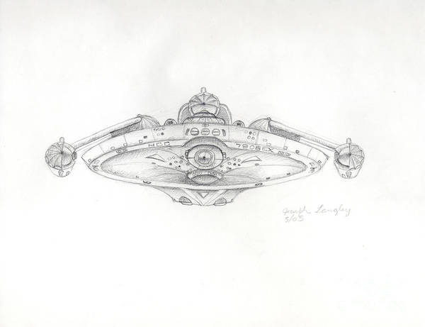 Star Trek Poster featuring the drawing Uss Bering Sea Front View by Joseph A Langley
