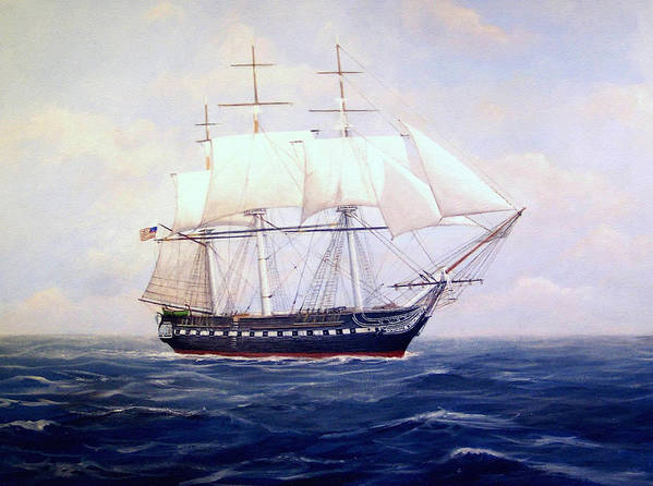Marine Art Poster featuring the painting USS Constitution by William H RaVell III