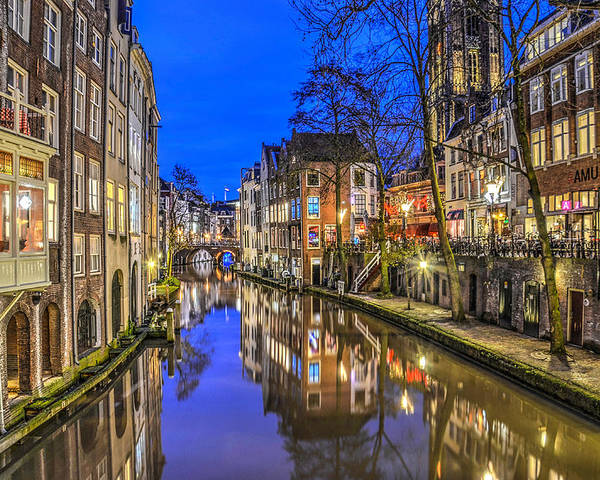 Utrecht Poster featuring the photograph Utrecht From The Bridge By Night by Frans Blok
