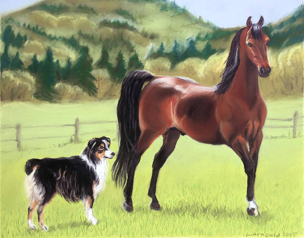 Horse Poster featuring the pastel Uvm Coming Attraction And Bernie by Leslie Arnould
