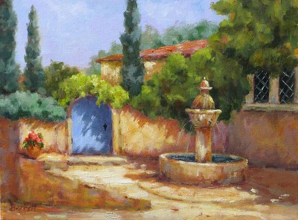 Fountain Poster featuring the painting Vaison La Fontaine by Barrett Edwards