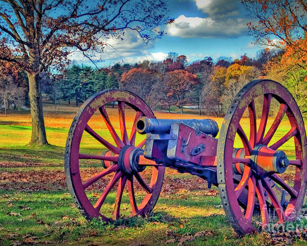 Historic Valley Forge Poster featuring the photograph Valley Forge Canon by David Zanzinger