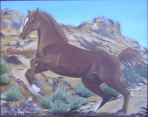 Horse Poster featuring the painting Valley Of Fire by KC Knight