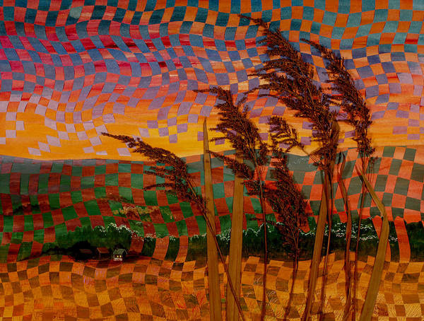 Landscape Poster featuring the painting Valley Sunset by Linda L Doucette