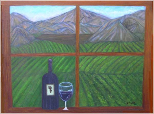 Vinyard Poster featuring the painting Valley View by Paula Taylor