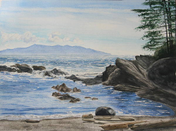 Seascape Poster featuring the painting Vancouver Island by Monika Degan
