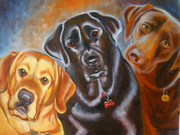 Labrador Retreivers Poster featuring the painting Vanilla Charcol And Chocolate by Kaytee Esser