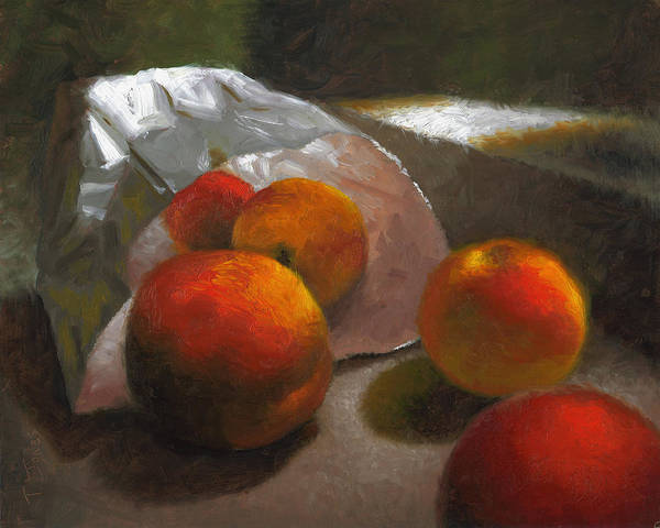 Peaches Poster featuring the painting Vanzant Peaches by Timothy Jones
