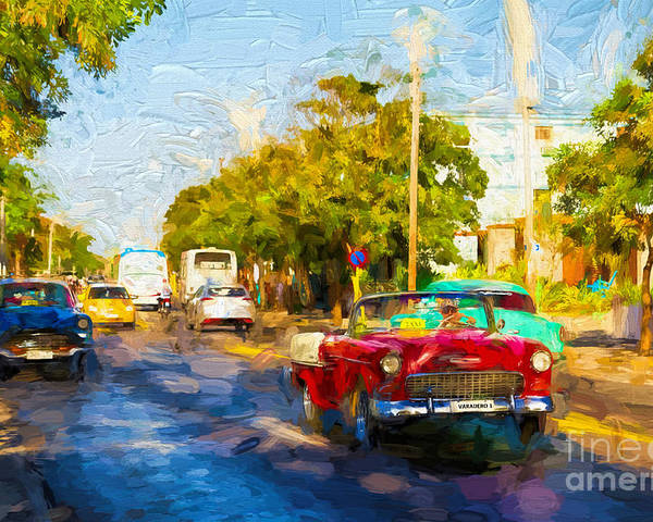 Varadero Poster featuring the photograph Vintage Cars In Varadero by Les Palenik