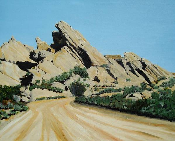 Rocks Poster featuring the painting Vasquez Rocks by Stephen Ponting