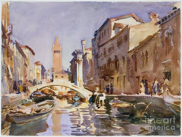 Venetian Canal Poster featuring the painting Venetian Canal by Celestial Images