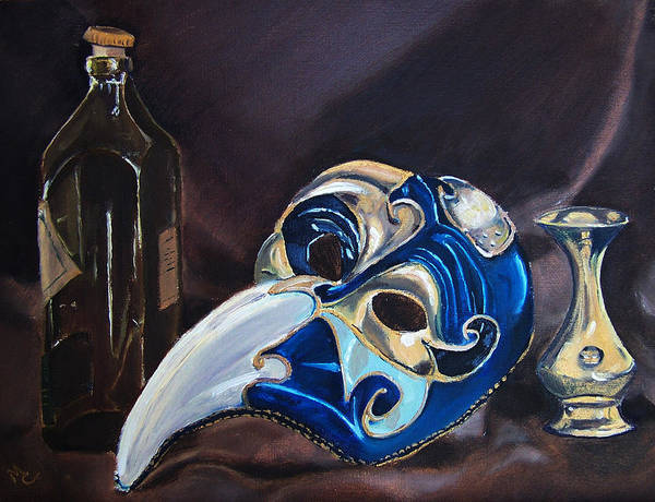Still Life Poster featuring the painting Venetian Mask by Mary Capriole