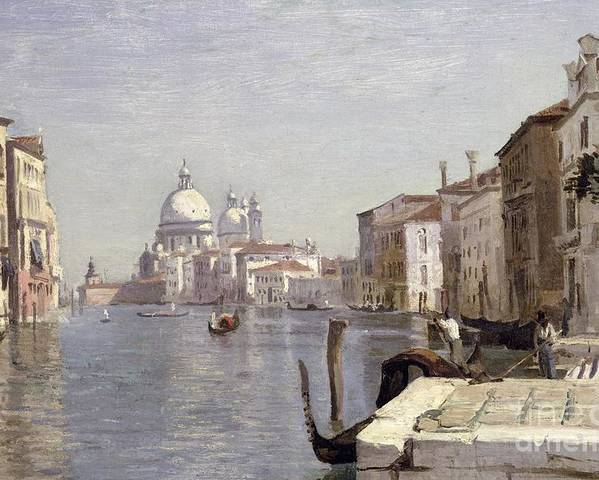 Venice Poster featuring the painting Venice - View Of Campo Della Carita Looking Towards The Dome Of The Salute by Jean Baptiste Camille Corot