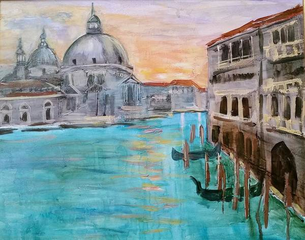 Venice Poster featuring the painting Venice 1 by ML Walls