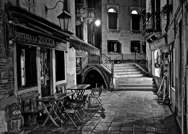 Venice poster featuring the photograph venice black and white night by frozen in time fine art