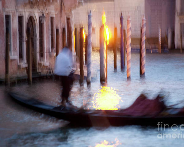 Venice Poster featuring the photograph Venice Blue Hour 1 by Heiko Koehrer-Wagner