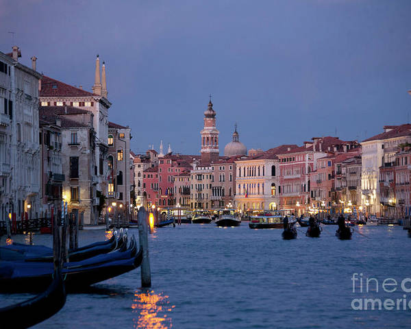 Venice Poster featuring the photograph Venice Blue Hour 2 by Heiko Koehrer-Wagner