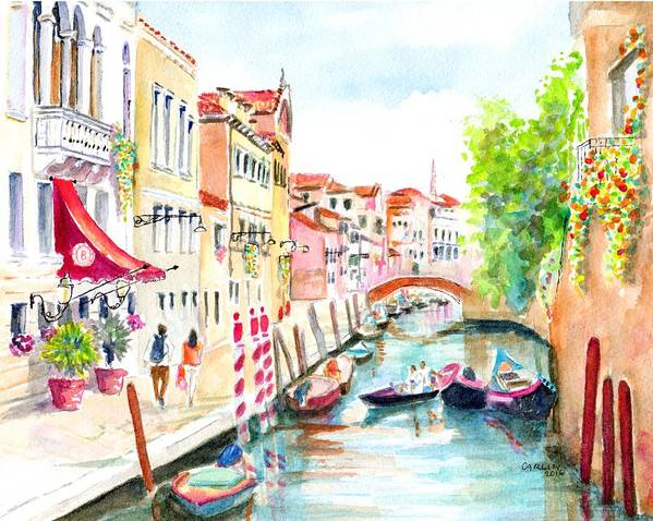 Venice Poster featuring the painting Venice Canal Boscolo Venezia by Carlin Blahnik CarlinArtWatercolor