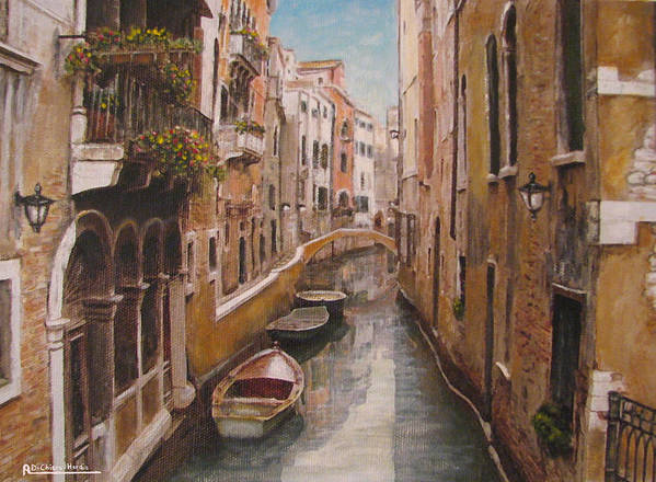 Angelica Dichiara Poster featuring the painting Venice-canale Veneziano by Italian Art