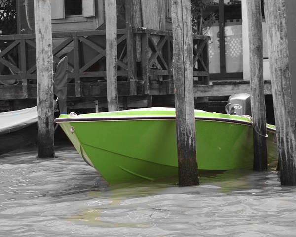 Italy Poster featuring the photograph Venice Canals Green Boat by Greg Sharpe