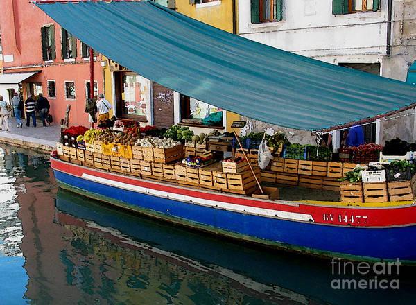 Angelica Dichiara Poster featuring the photograph Venice Fresh Market Boat by Italian Art