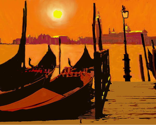 Venice Poster featuring the digital art Venice In Orange by Ian MacDonald