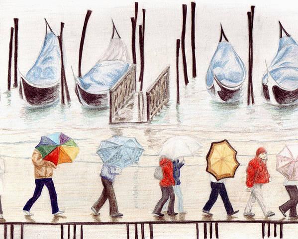 Rain Poster featuring the drawing Venice Rain by Julia Collard
