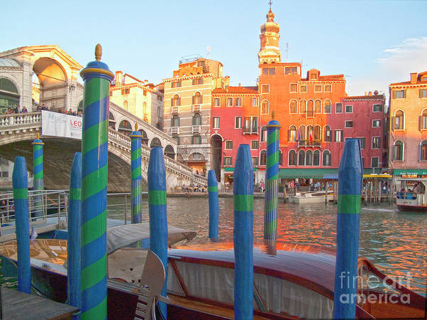 Venice Poster featuring the photograph Venice Rialto Bridge by Heiko Koehrer-Wagner