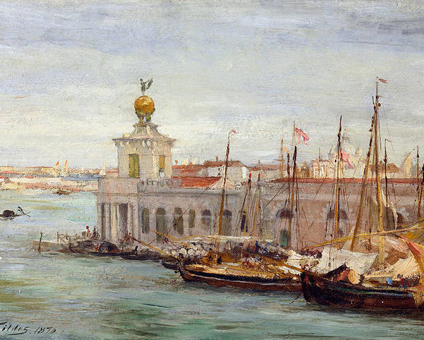 Boat Poster featuring the painting Venice by Sir Samuel Luke Fields