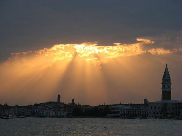 Venice Poster featuring the photograph Venice Skyline At Sunset by Erla Zwingle
