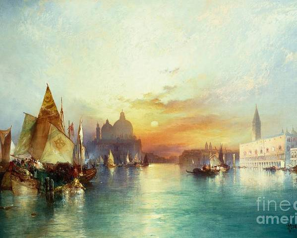 Venetian Scene; Sailing Boats; Architecture; Sunset; Atmospheric; Tranquil; Veneto-byzantine; Hudson River School; Italian; Dusk; Palazzo Ducale; Lagoon; Doge's Palace; Campanile; Thomas Moran Poster featuring the painting Venice by Thomas Moran