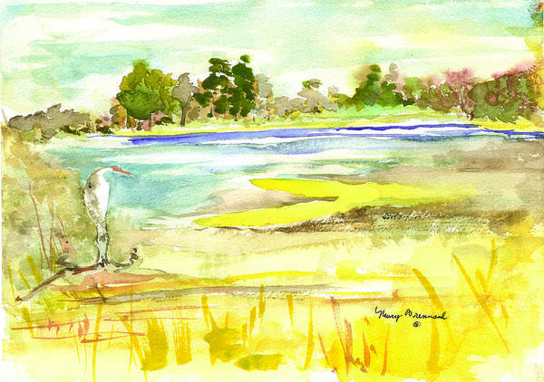 Salt Marsh Poster featuring the painting Vereen Marsh by Nancy Brennand