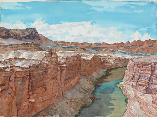 Watercolor Poster featuring the painting Vermilion Cliffs Standing Guard Over The Colorado by Leslie White