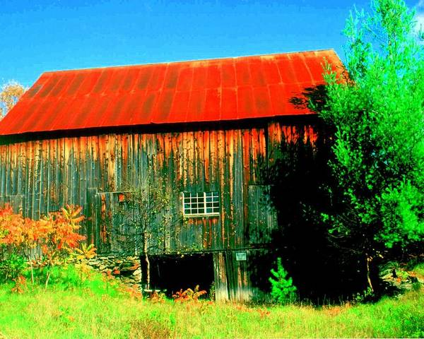 Vermont Poster featuring the photograph Vermont Barn With Really Red Roof by Don Struke