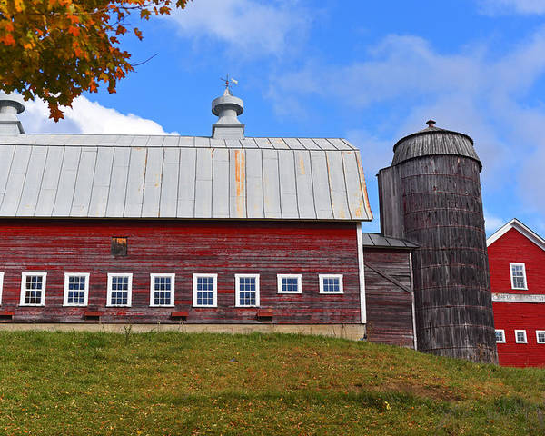 Vermont Poster featuring the photograph Vermont Farm Woodstock Vt Red Barn by Toby McGuire