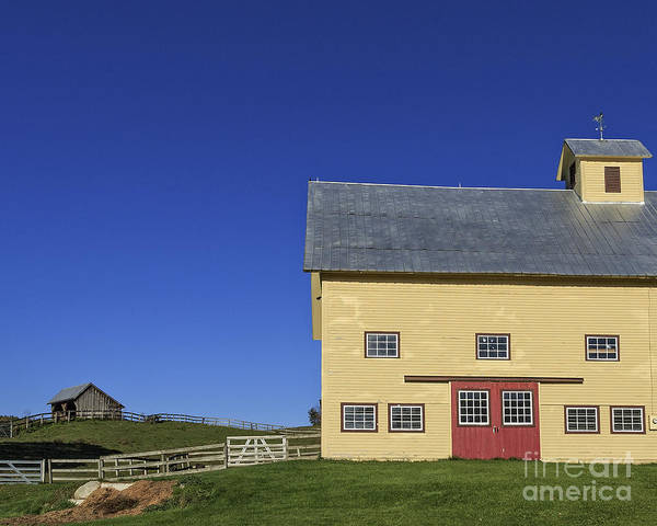 Autumn Poster featuring the photograph Vermont Yellow Barn 8x10 Ratio by Edward Fielding