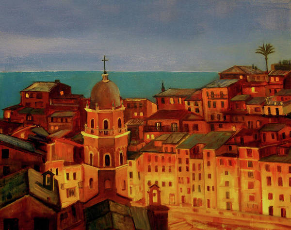 Landscape Poster featuring the painting Vernazza Twilight by Norah Brown
