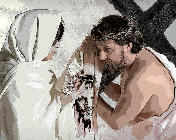 Religious Poster featuring the photograph Veronica Wipes The Face Of Jesus by Jacqueline Milner