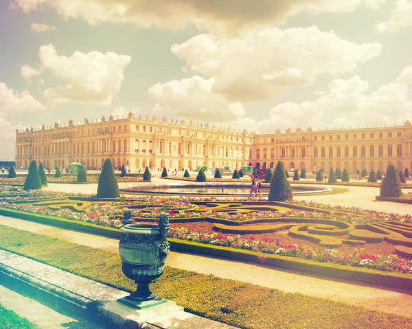 Angle Poster featuring the photograph Versailles Gardens And Palace In Shabby Chic Style by Sandra Rugina
