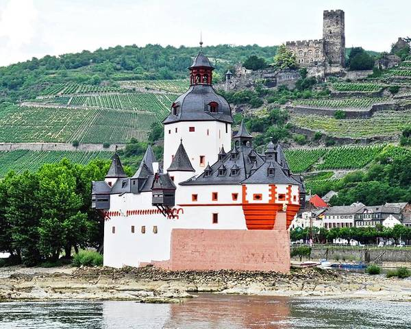 Rhine River Poster featuring the photograph Vertical Vineyards and Buildings on the Rhine by Kirsten Giving