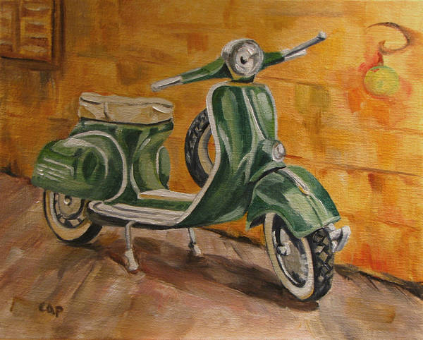 Vespa Poster featuring the painting Vespa 3 by Cheryl Pass