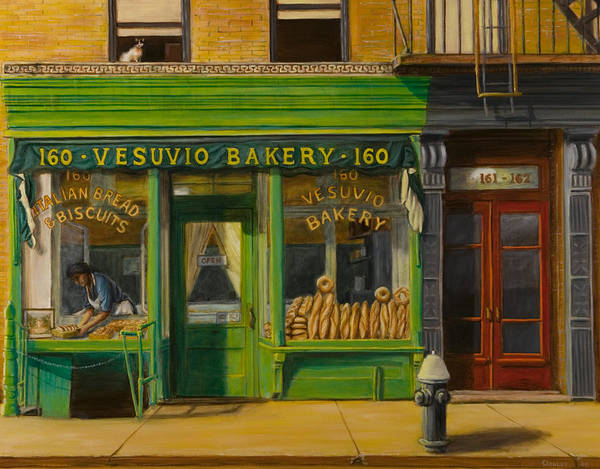 Vesuvio Bakery Poster featuring the painting Vesuvio Bakery In New York City by Christopher Oakley