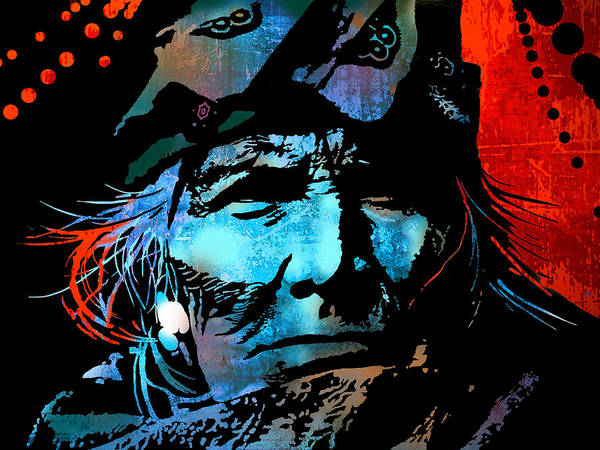 Native Americans Poster featuring the painting Veteran Warrior by Paul Sachtleben
