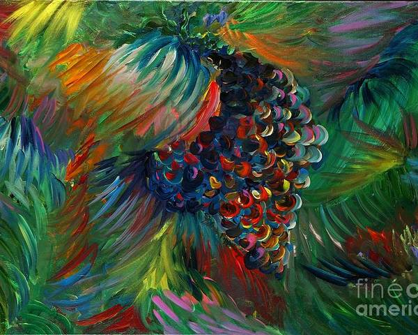 Grapes Poster featuring the painting Vibrant Grapes by Nadine Rippelmeyer