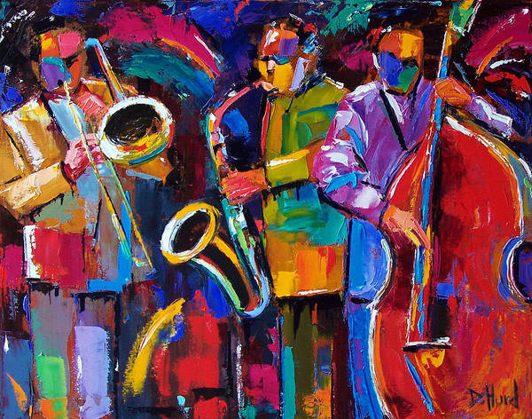 Jazz Poster featuring the painting Vibrant Jazz by Debra Hurd