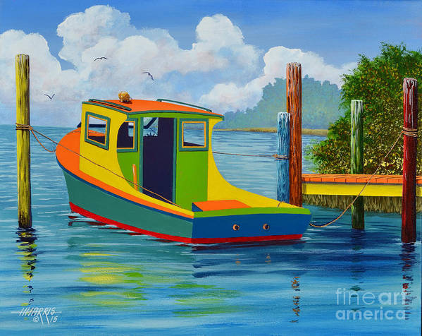 Colorful Poster featuring the painting Vibrant Vessel by Hugh Harris