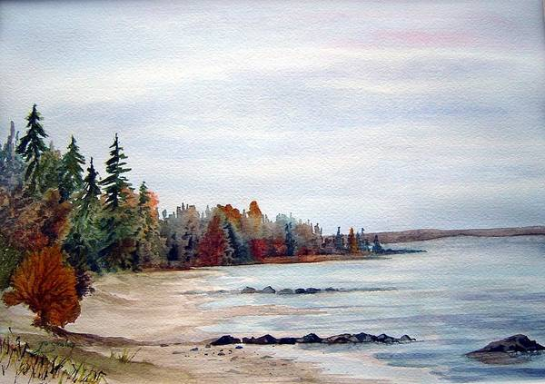 Victoria Beach Manitoba Shoreline Poster featuring the painting Victoria Beach In Manitoba by Joanne Smoley