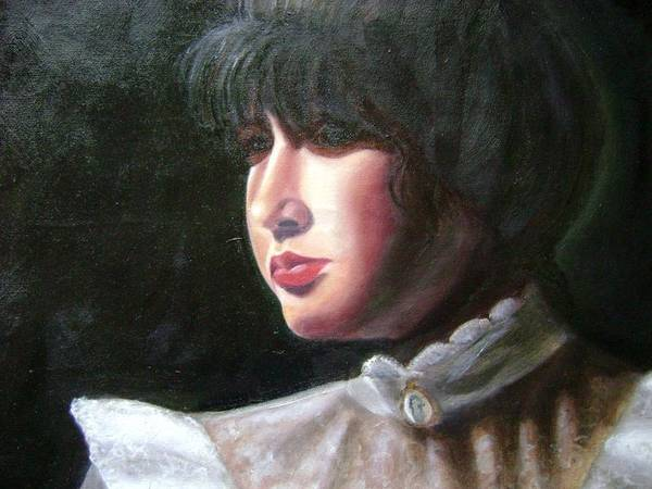 Girl In White Blouse Poster featuring the painting Victorian Blouse by Toni Berry